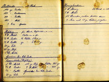 Recipe book. Grungy detail of bakerys vintage handwritten cookbook Royalty Free Stock Photography