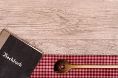 Recipe Book And Wooden Spoon Stock Image