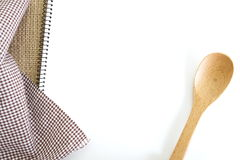 Recipe book. Blank white recipe book on kitchen table Stock Image