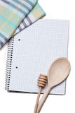 Recipe book. For cooking, wooden spoon Stock Images