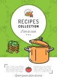 Recipe book Cover menu Cookbook A4 size. Boiling pot, Steam icon, Speech bubble with space for text. Culinary and vegetables background. Colorful vector Stock Images
