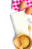 Recipe book egg and sugar Royalty Free Stock Photography
