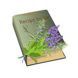 Recipe book and flowers. Old recipe book with bunch of flowers. Sage and rosemary. Vector illustration Stock Photography