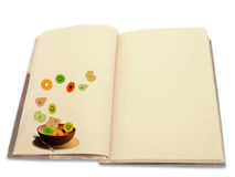 Recipe book illustrated with fruit salad Stock Photo