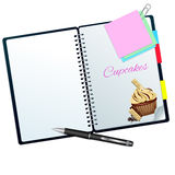 Recipe book illustrated with moca-white choco cupcake Stock Images