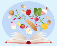 Recipe book. An illustration of a recipe book with open pages and various food ingredients on a blue background Stock Photo