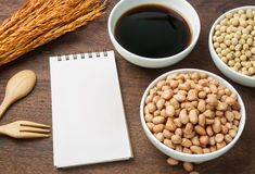 Recipe book and ingredient Stock Photography
