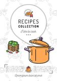 Recipe book Menu template Cookbook A4 size. Boiling pot, Speech bubble with space for text. Minimal design Stock Photography