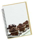 Recipe book for dessert. Recipe book, muffins painting on blank notebook page Royalty Free Stock Photos