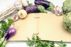 Recipe book open kitchen Stock Image