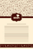 Recipe book page with hand drawn sweets elements. Vector template of dessert recipe page book Royalty Free Stock Images