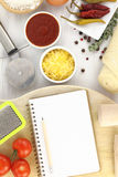Recipe book for pizza. Blank recipe book for pizza Royalty Free Stock Images