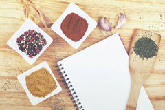 Recipe book. Book of recipes with ingredients Royalty Free Stock Image
