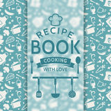 Recipe book. Vector card. Recipe book. Cooking with love. Recipe card with silhouette culinary symbols and typographic badge. Vector background in blue and Stock Photo