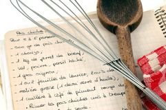 38/5000 Recipe book written in French royalty free stock photos