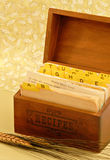 Recipe Box. Antique recipe box with a bread recipe card pulled up Stock Photography