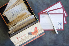 Recipe Box Recipe Cards Vintage Recipes Royalty Free Stock Photo