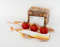 Recipe Box Scene with Blank Recipe Cards and Fresn Tomatoes Royalty Free Stock Photos