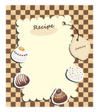 Recipe card. With tag and chocolate candies on checkered background Royalty Free Stock Photos