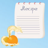 Recipe card. Bright recipe card with yellow physalis Stock Images