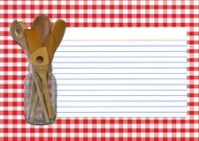Recipe Card. Red and White Gingham - Spoon Jar - Recipe Card All elements created by Denise Kappa royalty free stock images