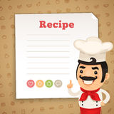 Recipe Card with Chef. Chef Presenting Recipe Card. Clipping paths included in additional jpg format Royalty Free Stock Image