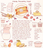 Recipe card. Creamy strawberry crepes. Royalty Free Stock Photos
