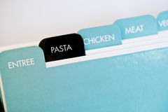 Recipe card dividers. Named tabs on a recipe card box with pasta in black Royalty Free Stock Photos