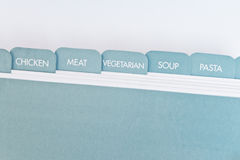 Recipe card dividers. Named tabs on a recipe card box Stock Images