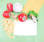 Recipe card with ingredients Stock Photo