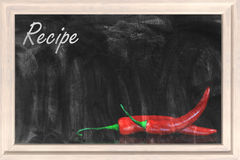 Recipe chalkboard. With red chili peppers Stock Image