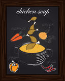 Recipe for chicken soup chicken with carrot, onion, pepper, vector illustration