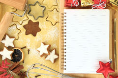 Recipe for Christmas. Making star cookies, recipe for Christmas Royalty Free Stock Photos