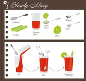 Recipe of cocktail Bloody Mary Royalty Free Stock Photos