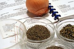 Recipe and Cooking Ingredients. This is a closeup of a recipe with various cooking ingredients and spices, along with an onion and measuring cup royalty free stock photography