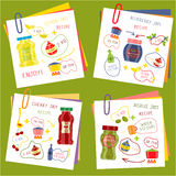 Recipe Of Cooking Jam Set. Including paper sheets and ingredients for fruit dishes isolated vector illustration Royalty Free Stock Photos