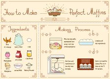 Recipe of cupcakes and muffins with ingredients. Hand drawn, food ingredient, rind of orange, flour,and honey, marmelad and sugar, vector illustration Royalty Free Stock Photos