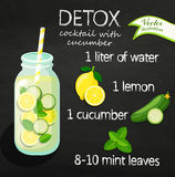 Recipe detox cocktail, vector. Recipe detox cocktail with cucumber, lemon, water, mint. Vector illustration for diet menu, cafe and restaurant menu. Fresh Royalty Free Stock Photo