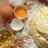 Recipe for fresh and healthy pasta. The dough is made from eggs, flour and olive oil Stock Image