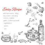Recipe hand drawn template, vector page menu design, kitchen bac Royalty Free Stock Photos
