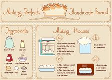 Recipe of homemade bread with ingredients. Hand Stock Photos