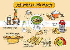 Recipe for homemade oat sticks with cheese. Step by step instruc. Tions Royalty Free Stock Photography