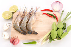 Recipe for hot and sour Thai soup - Tom Yam Kung - top view Stock Photography