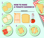 Recipe infographic for making a tomato sandwich Stock Images