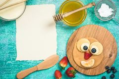 Recipe and ingredients for pancakes on Shrove Tuesday or pancake. Day Royalty Free Stock Photo