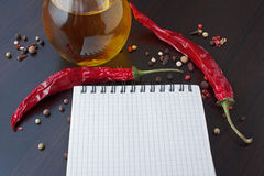 Recipe on the kitchen table Royalty Free Stock Photos