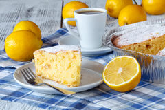Recipe for lemon pie. Preparation of the cake with ingredients. Royalty Free Stock Image