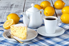 Recipe for lemon pie. Preparation of the cake with ingredients. Royalty Free Stock Images
