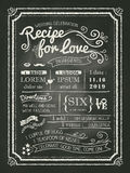 Recipe for love chalkboard Wedding Invitation card. Recipe chalkboard Wedding Invitation card background Royalty Free Stock Image