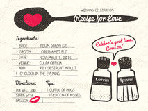 Recipe for Love creative Wedding Invitation. Recipe card creative Wedding Invitation design with salt and pepper shaker cooking concept Royalty Free Stock Images